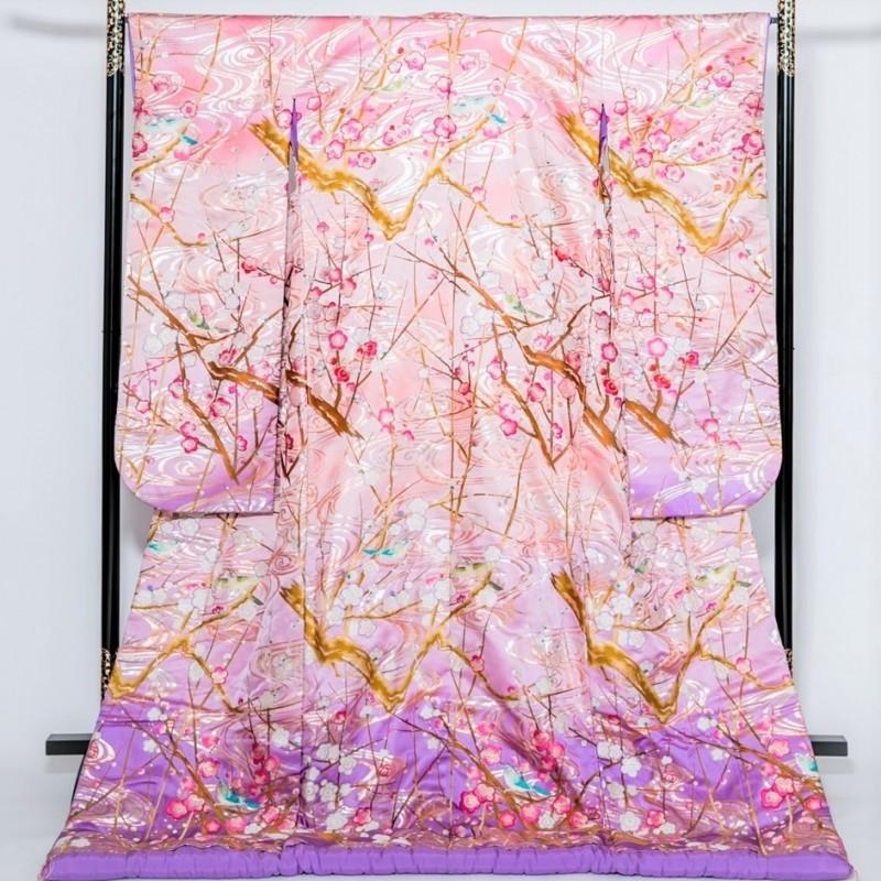 色打掛―ピンクのグラデーションに流水・梅